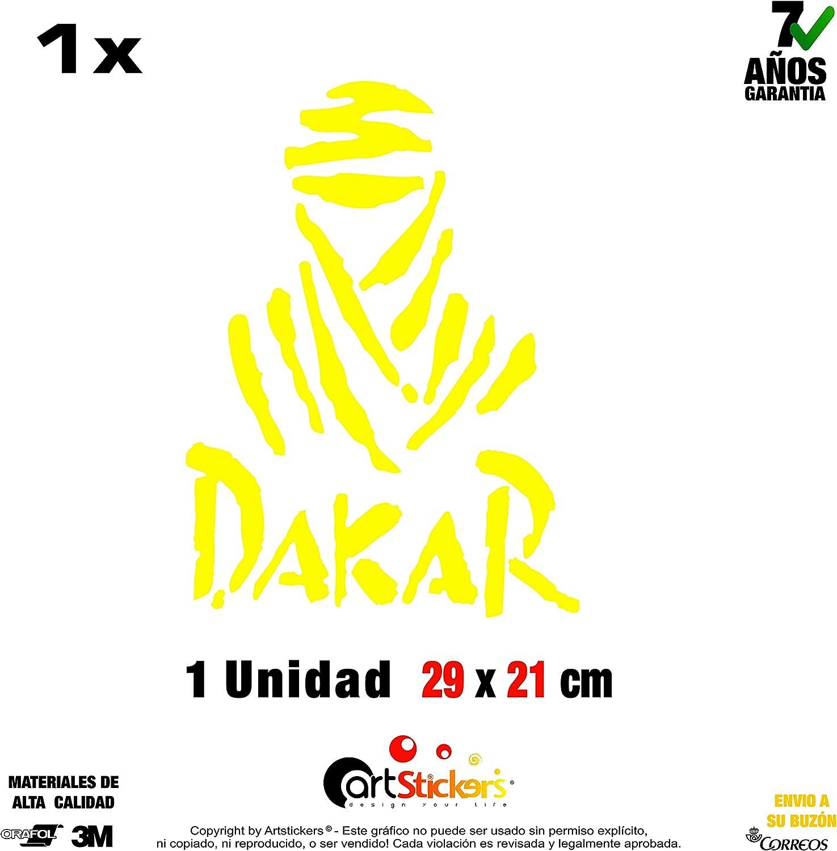 Artstickers Pegatina Dakar 29 x 21 cm, 1 Unidad Adhesivo de Vinilo Amarillo Neon, (15 Colores a Elegir), Vinilo Regalo 1 Pegatina SPILARTS®: Amazon.es: Coche y moto