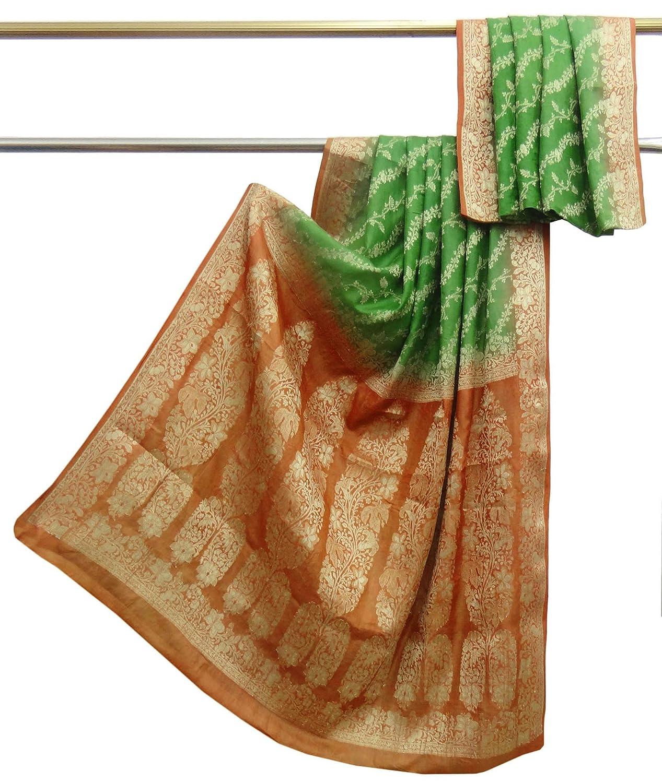 Indian Jahrgang 100% reine Seide Saree grün gewebt verwendet Sari Handwerk Stoff 5 yard Vintageandyou