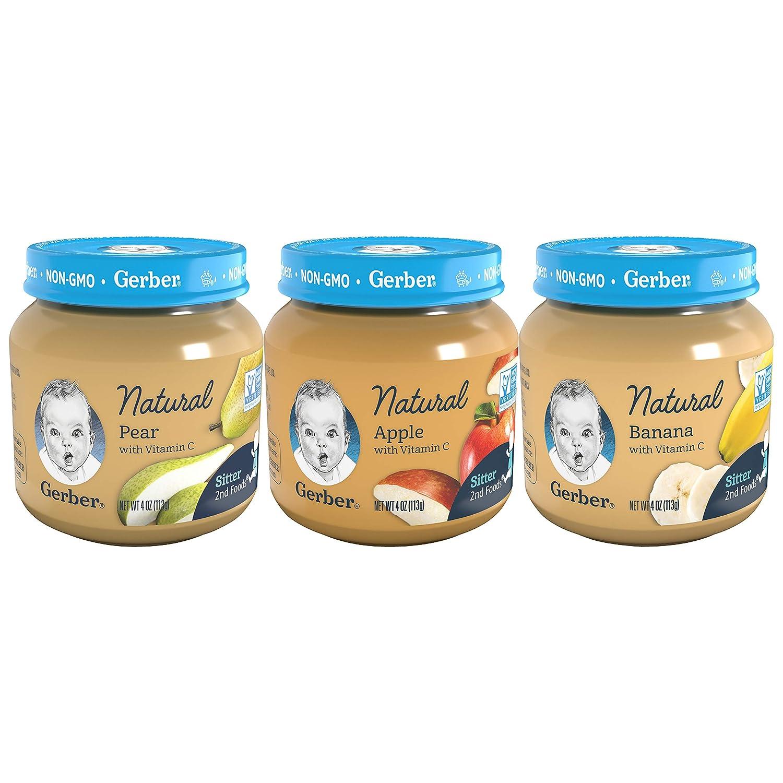 Gerber 2nd Foods Natural Jars Variety Pack, 4 Apple, 4 Pear, 4 Banana, 12 CT