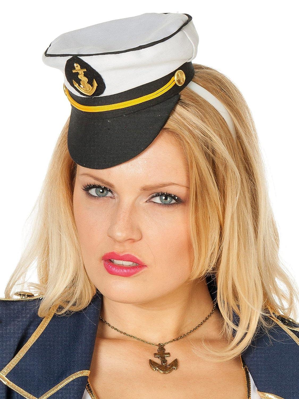 Karneval Fasching Hut Mütze Kopfbedeckung Mini Matrosenmütze auf Haarreif NEU
