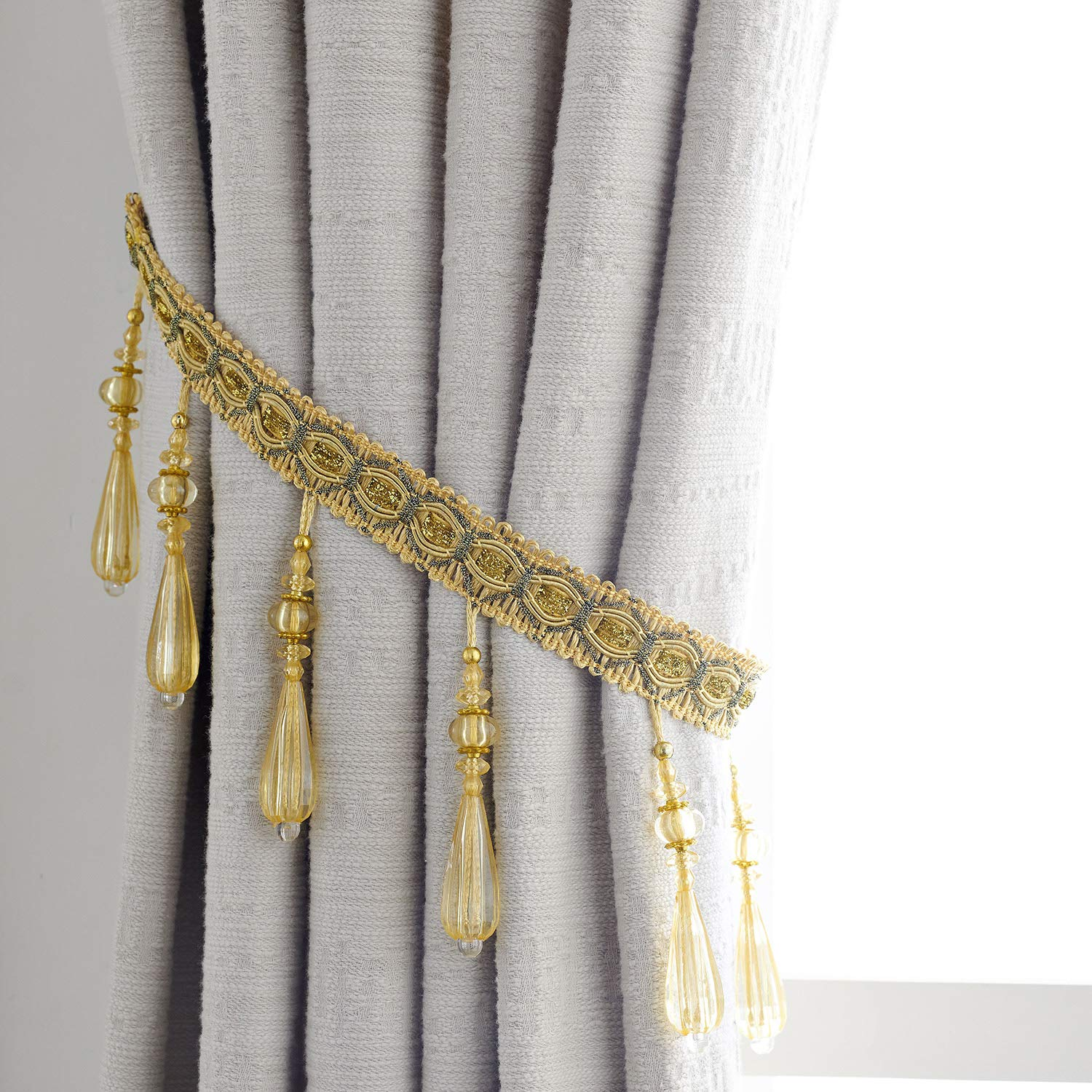 HSYLYM Curtain Holdbacks Curtain Holders Polyester Light-Weight Durable Tie Backs for Curtains,Set of 2,Coffee