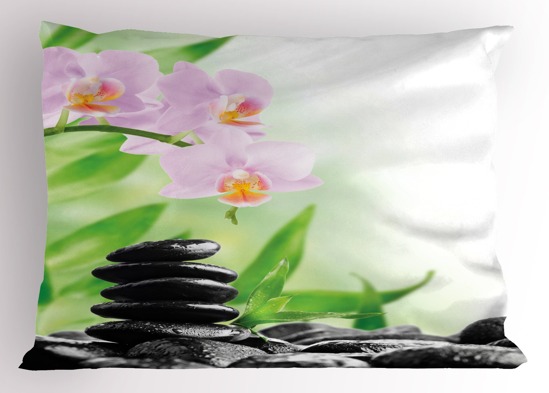 Ambesonne Spa Pillow Sham, Zen Basalt Stones and Orchid with Dew Peaceful Nature Theraphy Massage Meditation, Decorative Standard King Size Printed Pillowcase, 36 X 20 inches, Black Pink Green