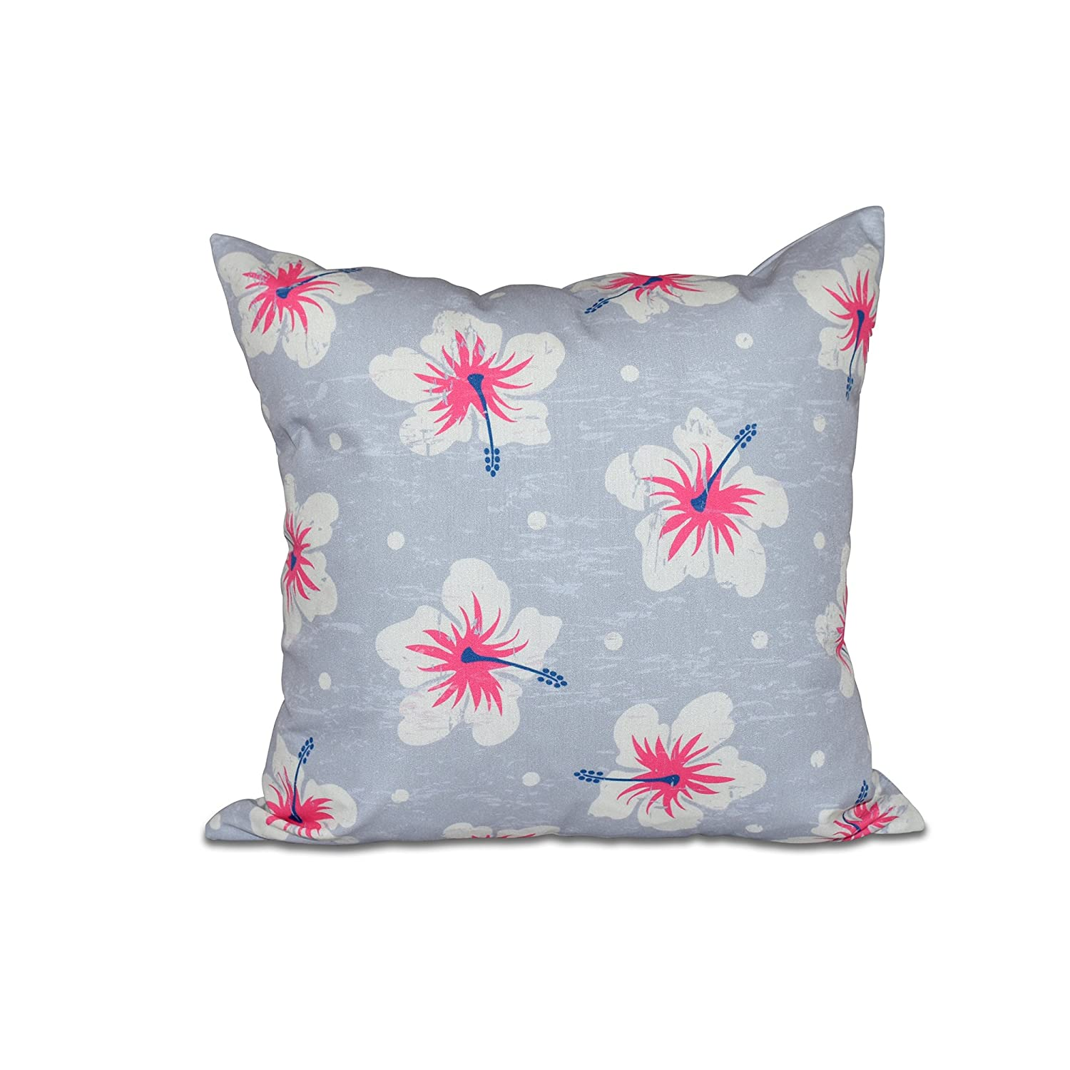 E by design Hibiscus Blooms Floral Print Pillow