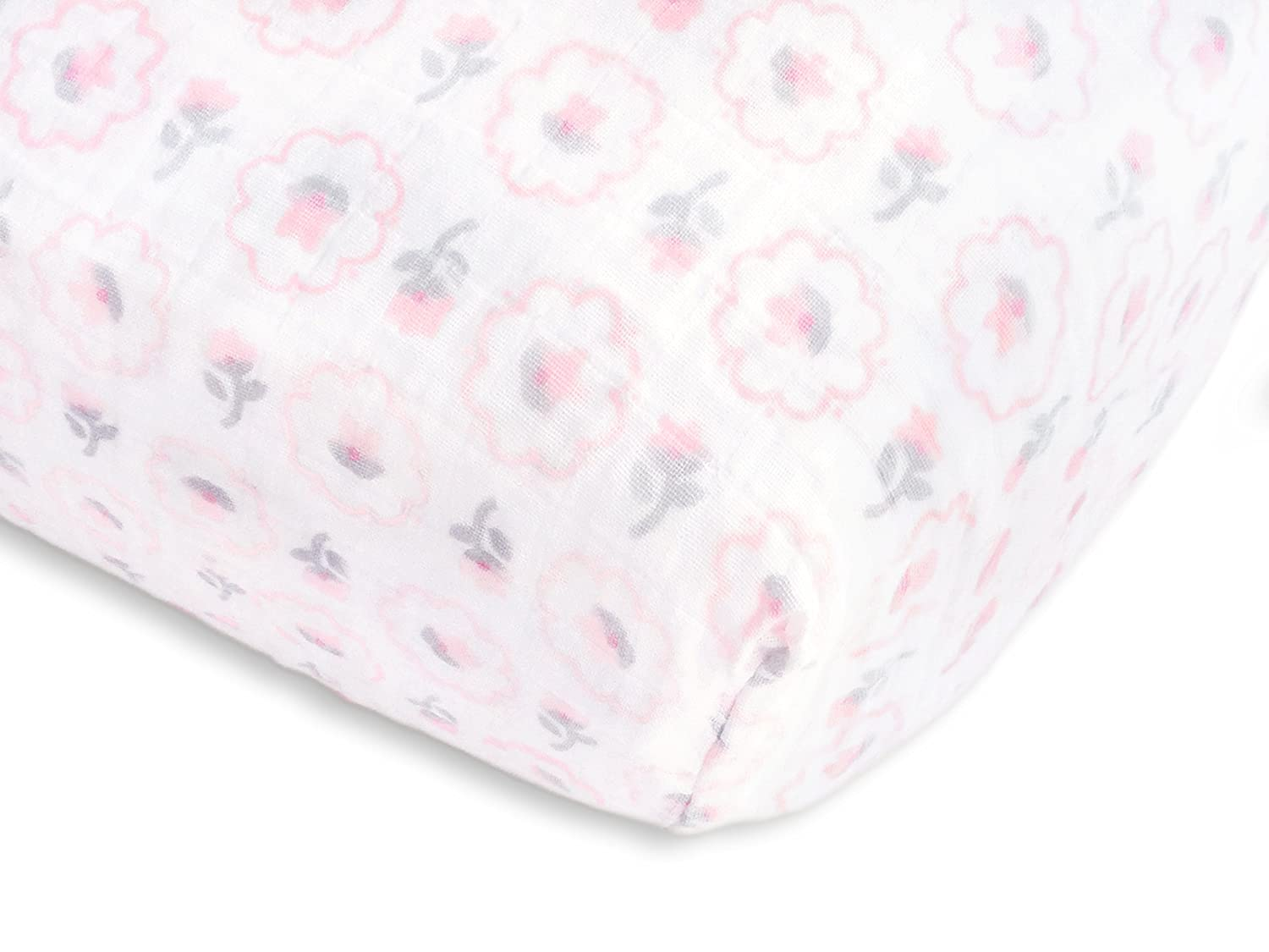 SwaddleDesigns Cotton Muslin Baby Burpies, Set of 2 Cotton Burp Cloths, Pastel Pink Butterflies and Posies SDM-202PP