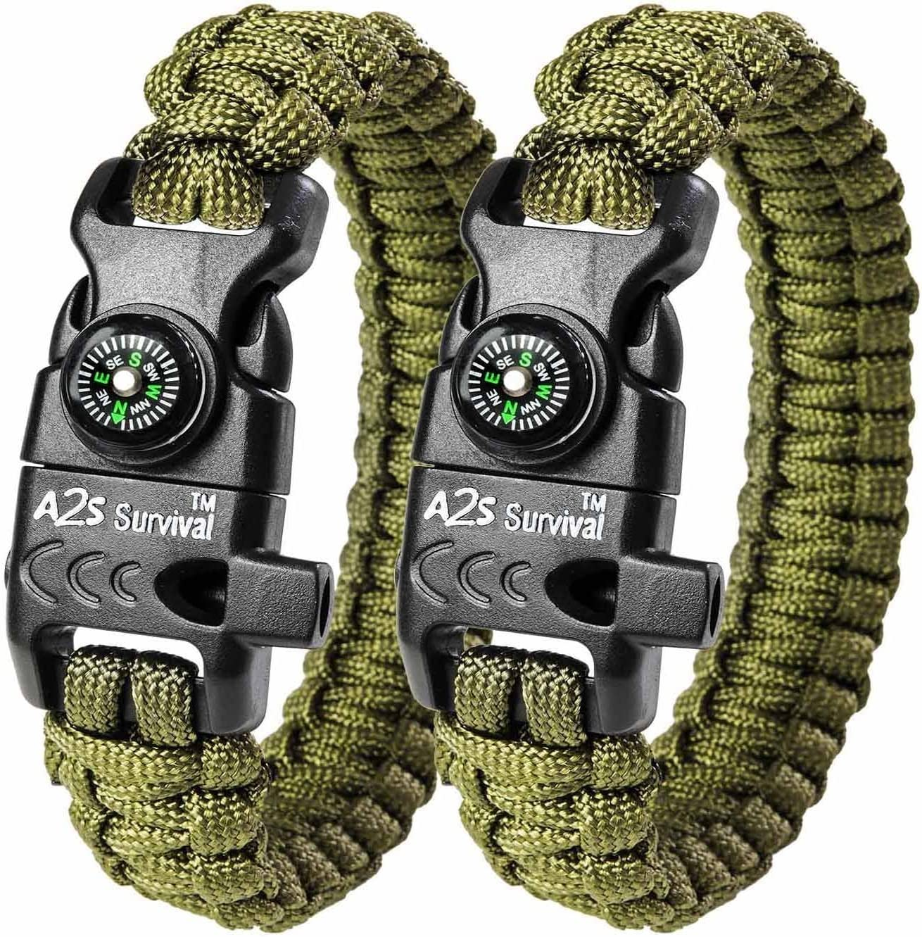 Paracord Bracelet K2-Peak – Survival Bracelets with Embedded Compass, Fire Starter, Emergency Knife & Whistle EDC Hiking Gear- Camping Gear