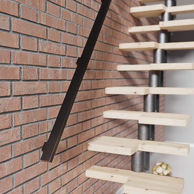 Treppengel/änder aus Stahl Vierkantprofil 30x30 mm HLH-03-120-7016 Anthrazitgrau L/änge: 120 cm HOLZBRINK Handlauf rechteckig