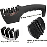 Knife Sharpener With 3 Stages for Kitchen and Profesional Knifes - Includes an Extra Head and Pocket Knife Sharpener for Travel and Outdoors