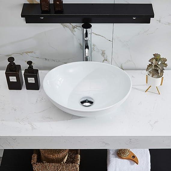 Petushouse Bathroom Vessel Sink And Pop Up Drain Combo Modern Oval Shape Above Counter White Porcelain Ceramic Bathroom Vessel Vanity Sink Washing Art Basin Amazon Com