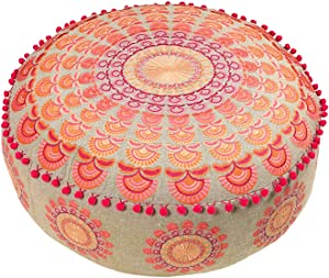 Mandala Life ART Bohemian Pouf Ottoman Cover - Luxury, Artisan Room Décor Pouffe for Meditation, Yoga, and Boho Chic Seating Area Stool Floor Pillow Case – Accent Your Living Room, Bedroom