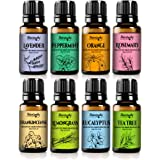 Naturopathy Essential Oils Gift Set, Top 8 Aromatherapy Oils 100% Pure & Therapeutic grade - Sampler Kit (Lavender, Frankincense, Peppermint, Lemongrass, Orange, Tea Tree, Eucalyptus & Rosemary)