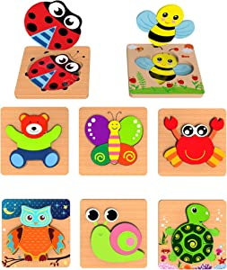 Jigsaw Puzzles for Toddlers Babies with Matching Picture Underneath, Educational Toys for Boys and Girls Ages 1 2 3 Year Old, Montessori Preschool Learning Toys, Gifts for Kids Toddlers Babies