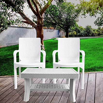 ITALICA Furniture - Armchair and Table Combo (9402 and 9503, White, Set of 2 Chairs)