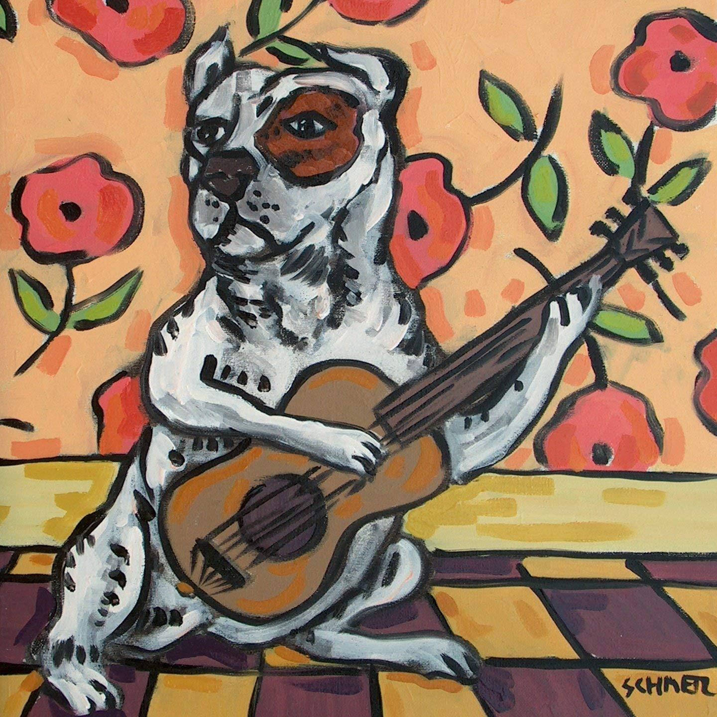 pit bull playing guitar dog art tile coaster gift