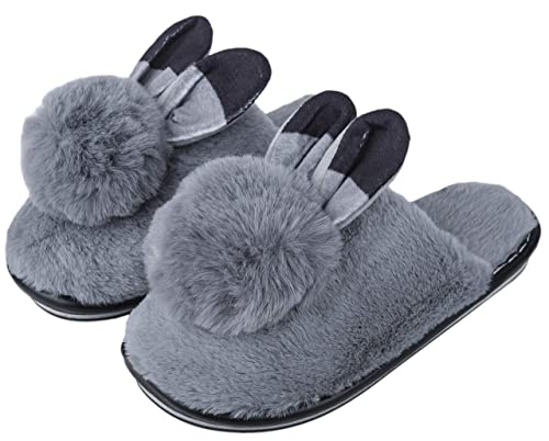 1654da493e8 Irsoe Women and Girls Velvet Anti-Slip Soft Bottom Winter Rabbit Slippers  Wool Slip-