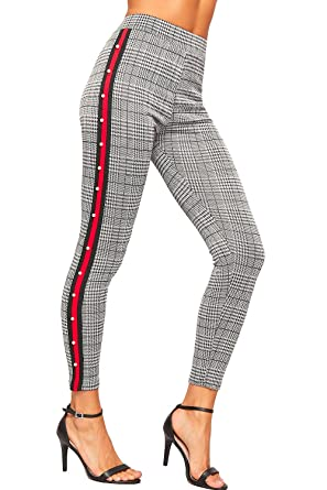 f2c4466d6b2706 WearAll Women's Side Striped Pearl Multi Check Print Stretch High Waist  Leggings Ladies - Black Red