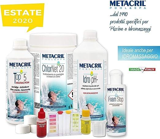 Metacril Easy - Kit de Cloro para hidromasajes y piscinas. Tratamiento completo a base de cloro en pastillas de 20 g.: Amazon.es: Jardín