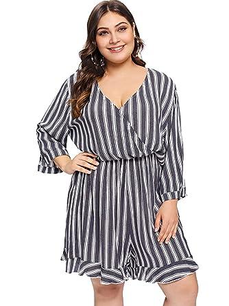 2677b392f8c Amazon.com  Romwe Women s Plus Size V Neck 3 4 Sleeve Short Striped Jumpsuit  Wrap Romper Grey 0X Plus  Clothing
