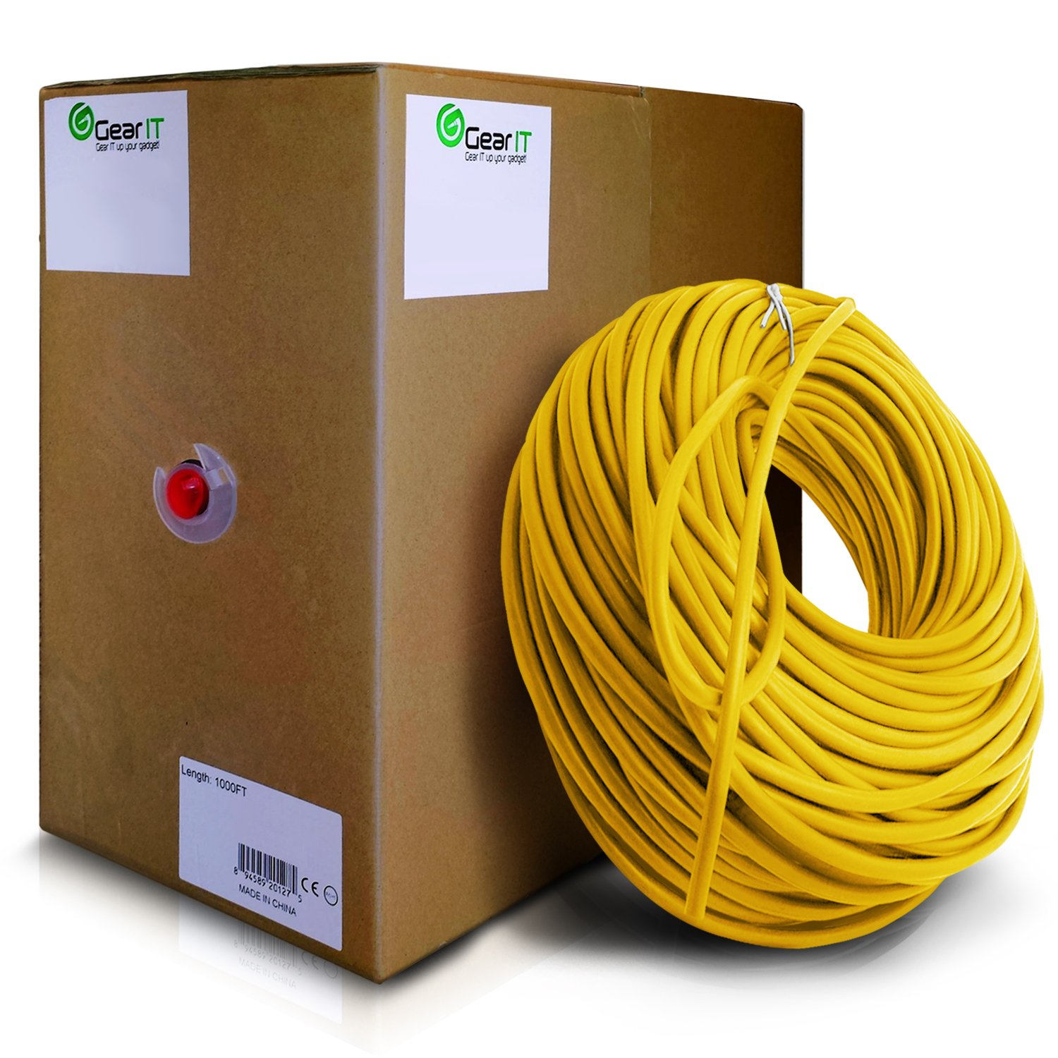 GearIT 1000 Feet Bulk Cat6 Ethernet Cable - Cat 6e 550Mhz 24AWG Full Copper Wire UTP Pull Box, Yellow by GearIT