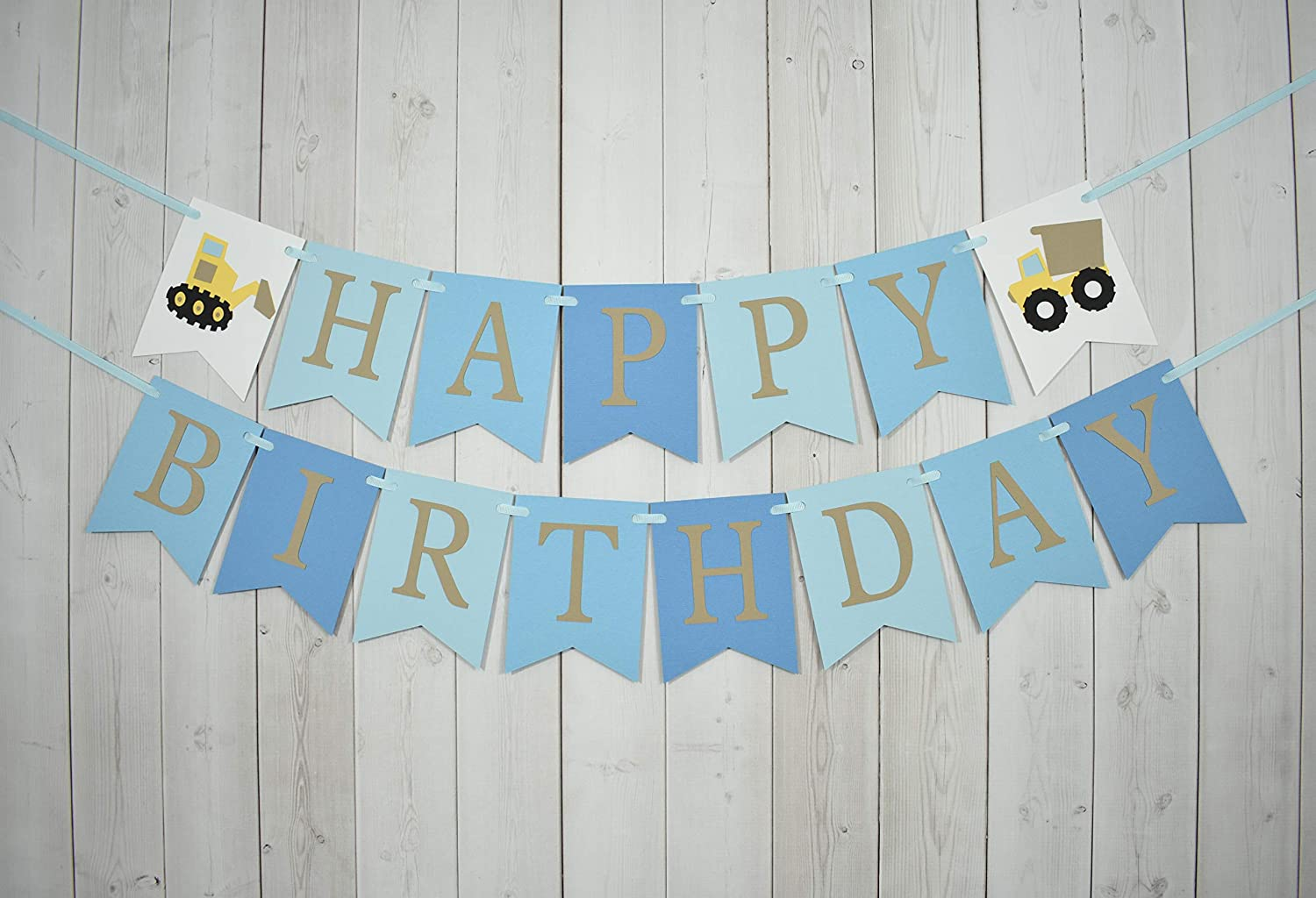 Construction Truck Happy Birthday Party Banner Sign Blue Ombre
