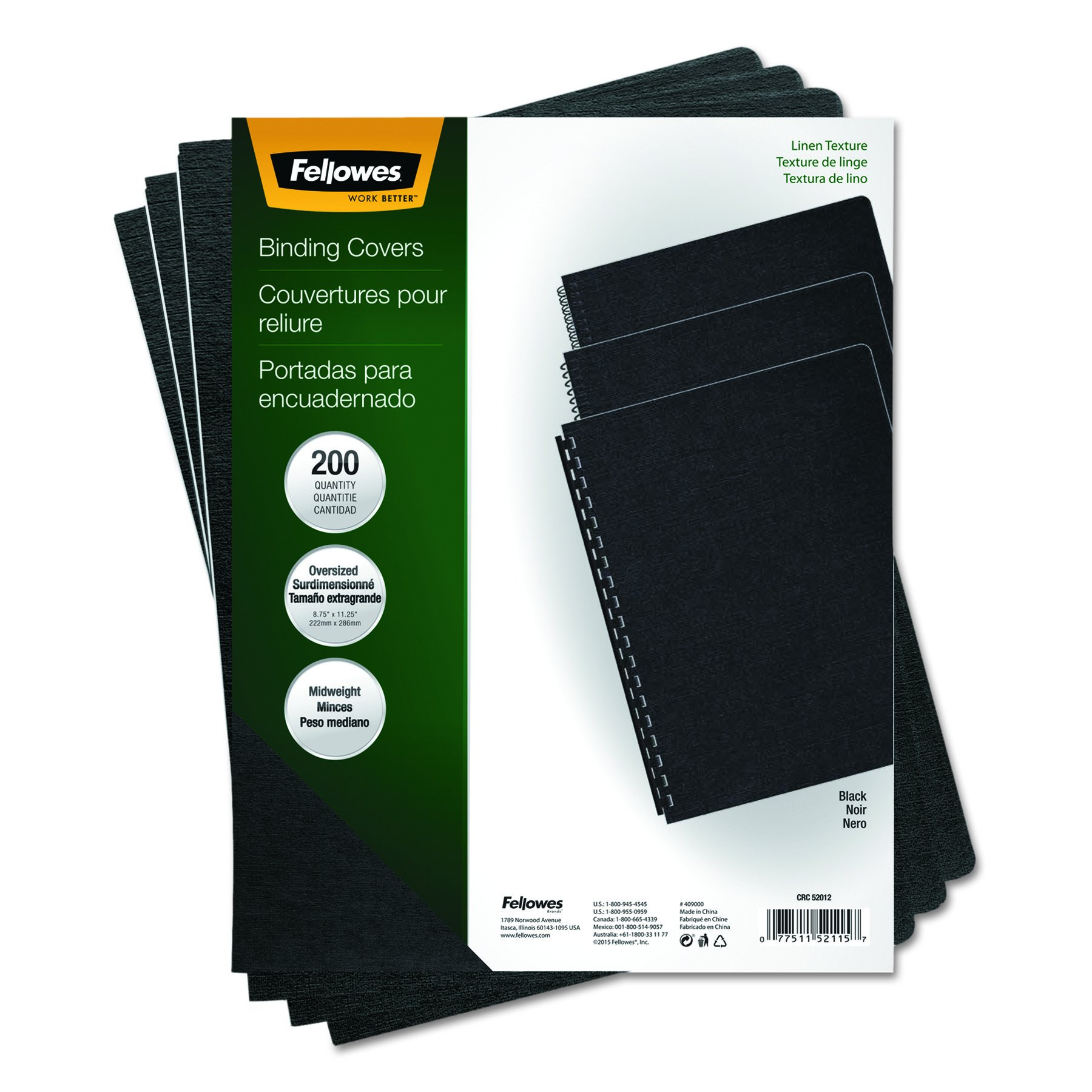 Fellowes 52115 Linen Texture Binding System Covers, 11-1/4 x 8-3/4, Black (Pack of 200) by Fellowes (Image #5)