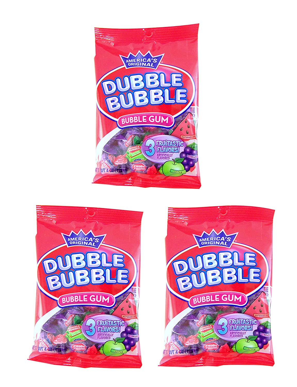 Dubble Bubble Fruit Flavored Bubble Gum, 4 Ounce, Pack of 3