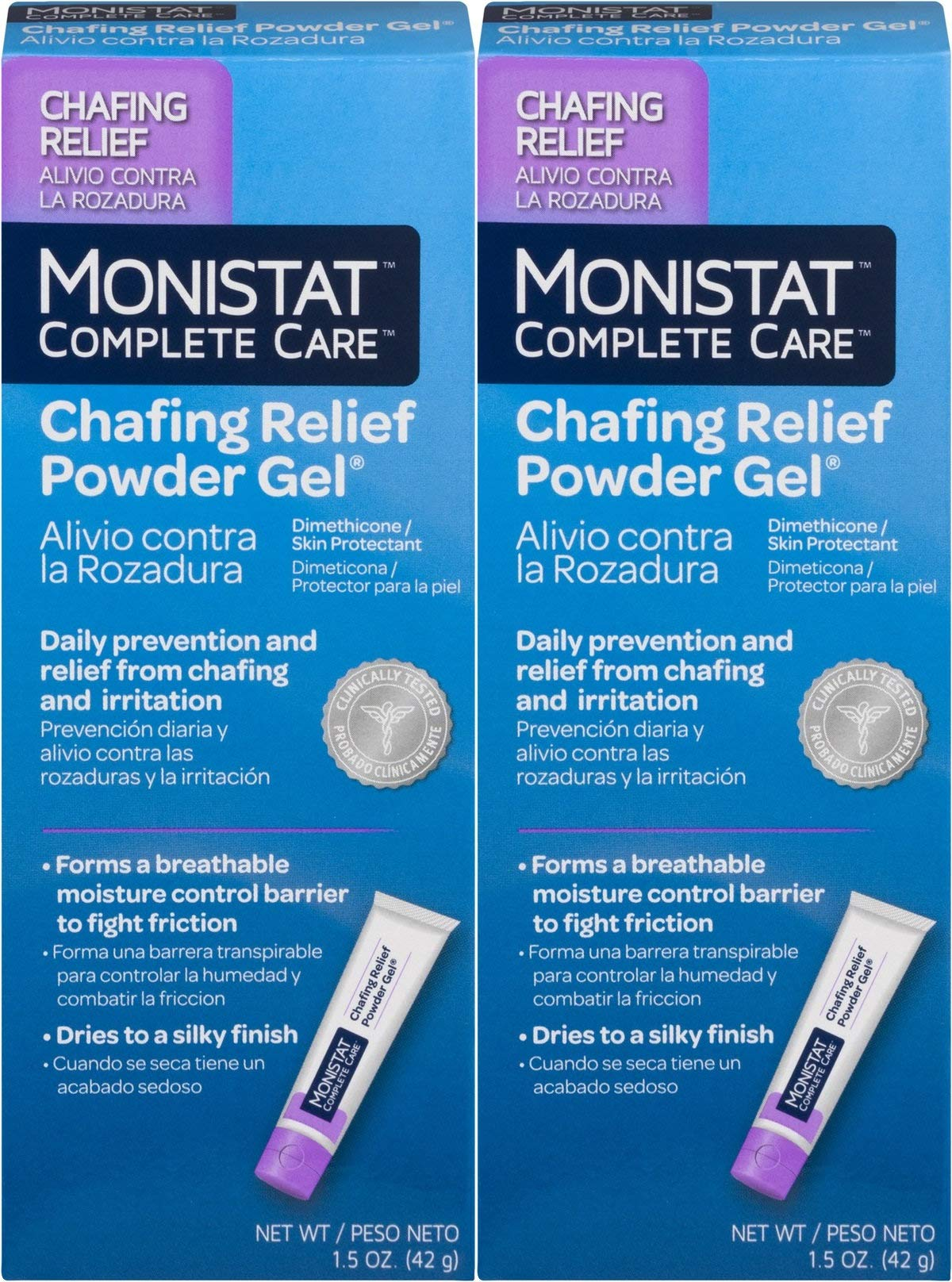 MONISTAT Chafing Relief Powder Gel 1.5 oz (Pack of 2)