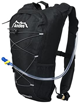 5e3cda4a64 Andes 2 Litre Black Hydration Pack Backpack Running Cycling with Water  Bladder Pockets