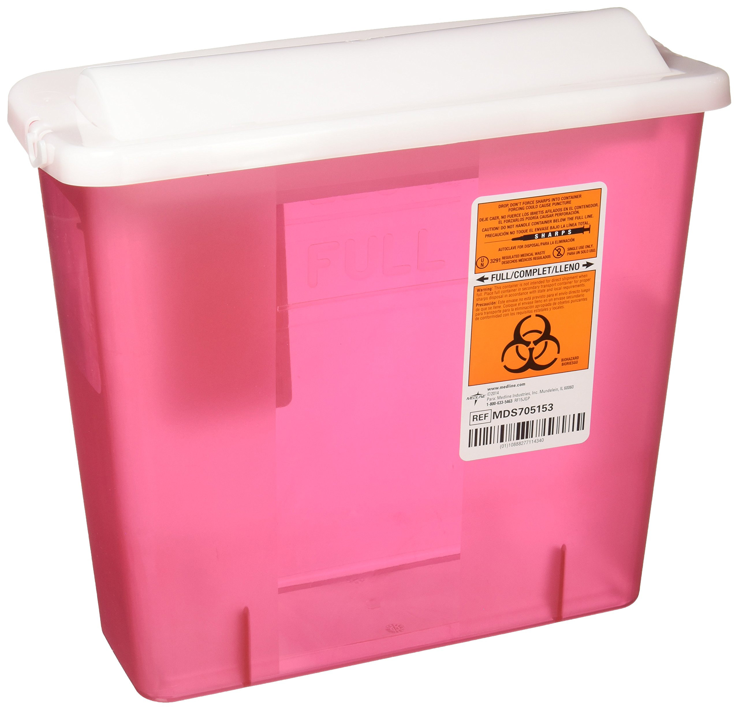 Medline MDS705153 Sharps Container, 5 Quart, Counter-Balance Lid, Red (Pack of 20)
