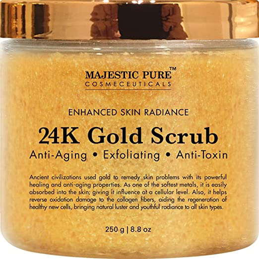 Majestic Pure 24K Gold Body and Facial Scrub, Ancient Anti Aging Face and Body Scrub Formula Helps Bringing Youthful Radiance - 8.8 Oz