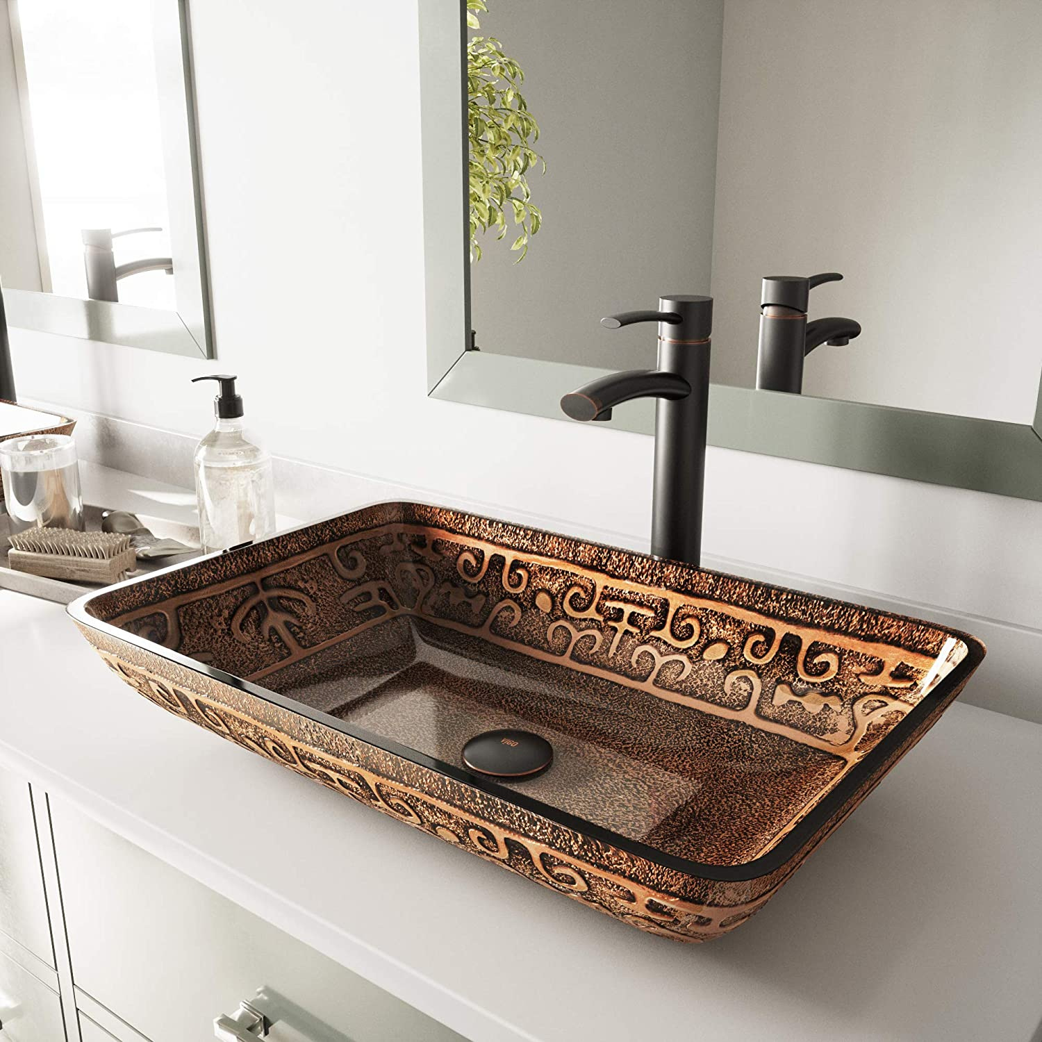 VIGO Rectangular Golden Greek Glass Vessel Bathroom Sink and Milo Vessel Faucet with Pop Up, Antique Rubbed Bronze