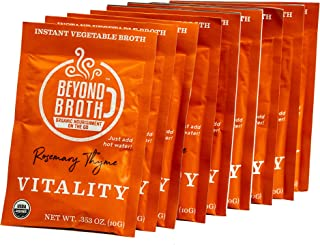 product image for BEYOND BROTH Organic Vegan Vegetable Instant Sipping Broth with Rosemary, Thyme, and Cayenne for Vitality | Keto, Gluten Free, Whole 30, and non GMO | (Vitality) (9 Pack)