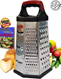 AGOL Box Cheese Grater , Steel 4-Sided Parmesan Ginger Lemon Vegetables w/ argonomic handle and Non Slip Rubber Bottom and Beautiful Design and 2 eBooks as Bonus