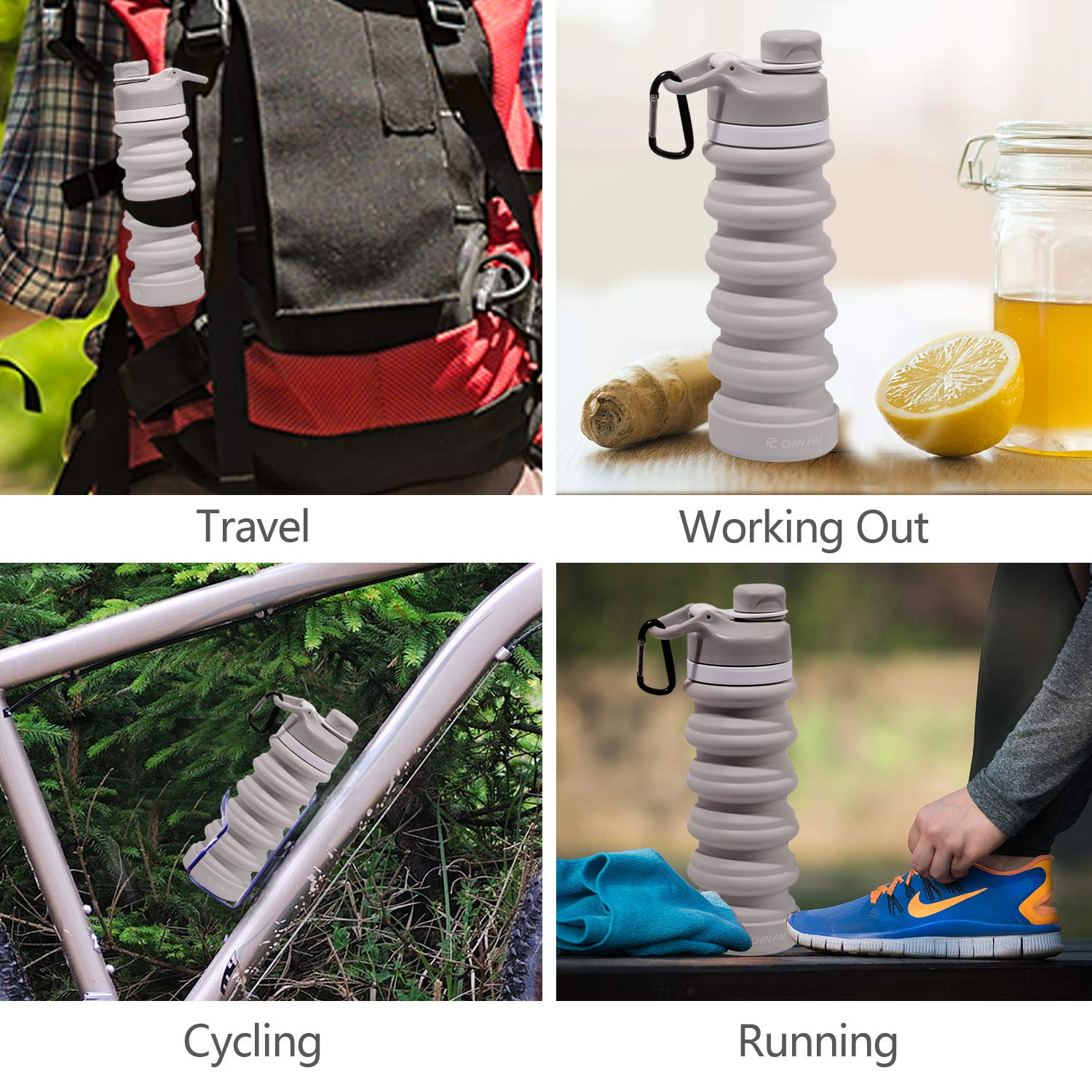 18.6 Oz CHINFAI Collapsible Silicone Water Bottle//Portable Travel Sport Water Bottle Folding Save Space BPA Free 550 mL