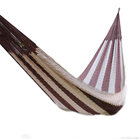 Handmade Indoor and Outdoor Hammock, Single or Double, Lightweight and Durable Medium One Person , White with Brown Stripes