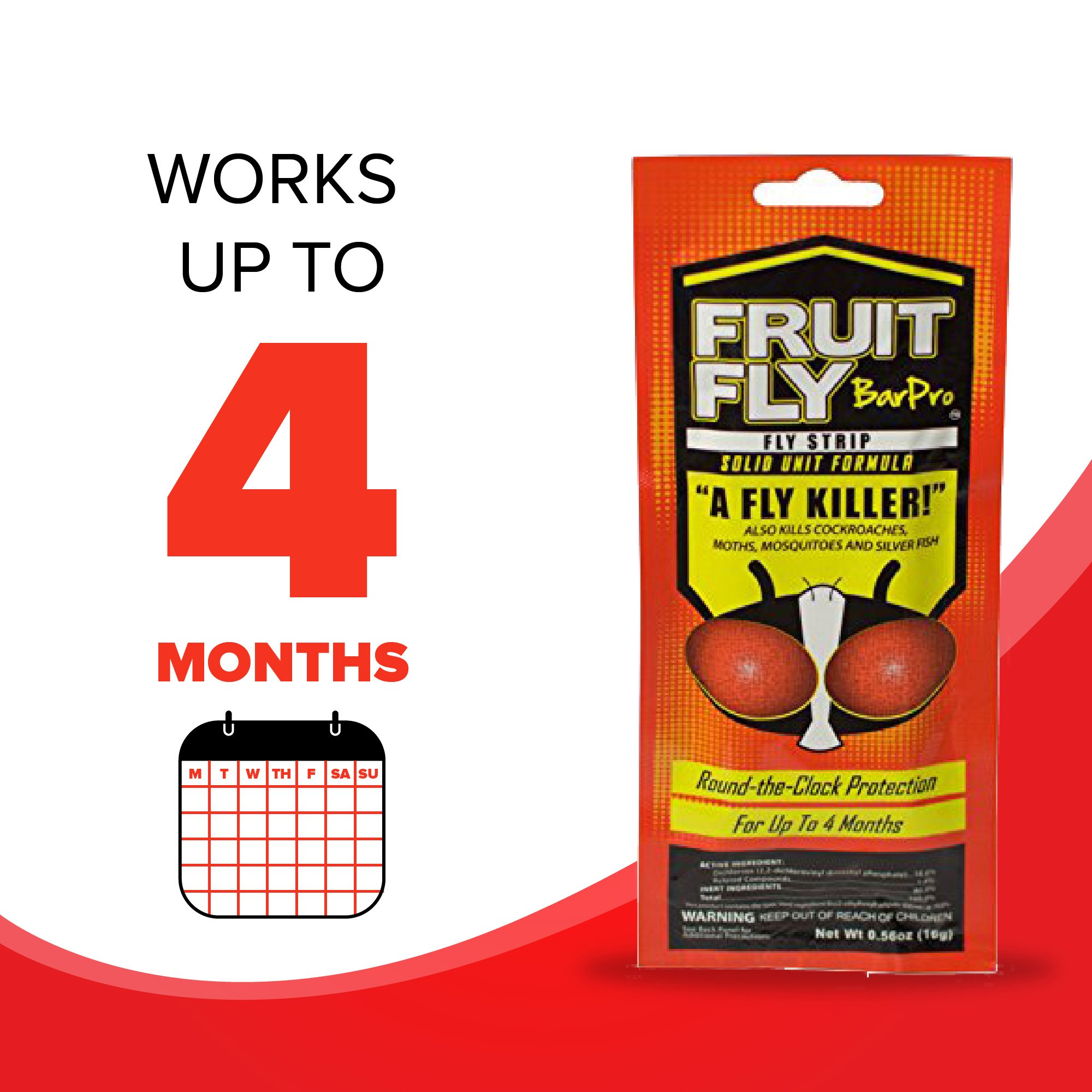 Fruit Fly BarPro Fly Strip – 4 Month Protection Against Flies, Cockroaches, Mosquitos & Other Pests – Portable for Indoor & Outdoor Use (5 Strips, Food Service Pack) by Fruit Fly BarPro (Image #6)