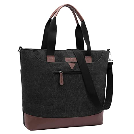 d5c3a6cd5301 LOKASS Tote Bag 15.6 Inches Laptop Briefcases Canvas Office Bag Shoulder  Bag Lightweight Book Bag Top Handle Handbags Classic Casual Computer Bag  for ...