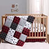The Peanutshell Buffalo Plaid Crib Bedding Set for Boys or Girls | Red, Black, and Grey | 3 Pieces - Crib Quilt, Fitted Sheet