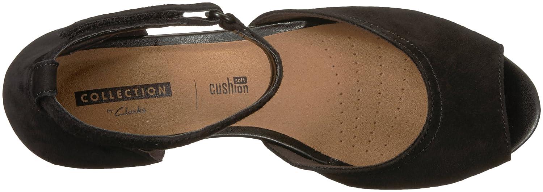 CLARKS Women's Flores Raye Wedge Sandal B072R2SQ5S 6 B(M) US|Black Suede