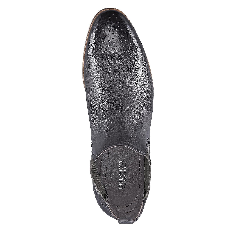 DRIEVHOLT Damen Damen Chelsea-Stiefelette aus Leder, Schwarze Schlupfstiefel mit flachem Absatz Absatz flachem d7031f