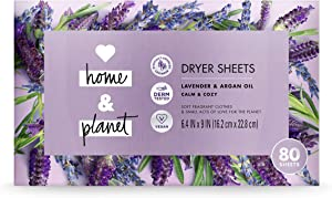 Love Home and Planet Dryer Sheets, Lavender & Argan Oil, 80 Count