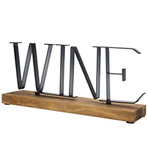 MyGift Wine Metal Decorative Letter Sign on Rustic Burnt Wood Base, 12 Inch
