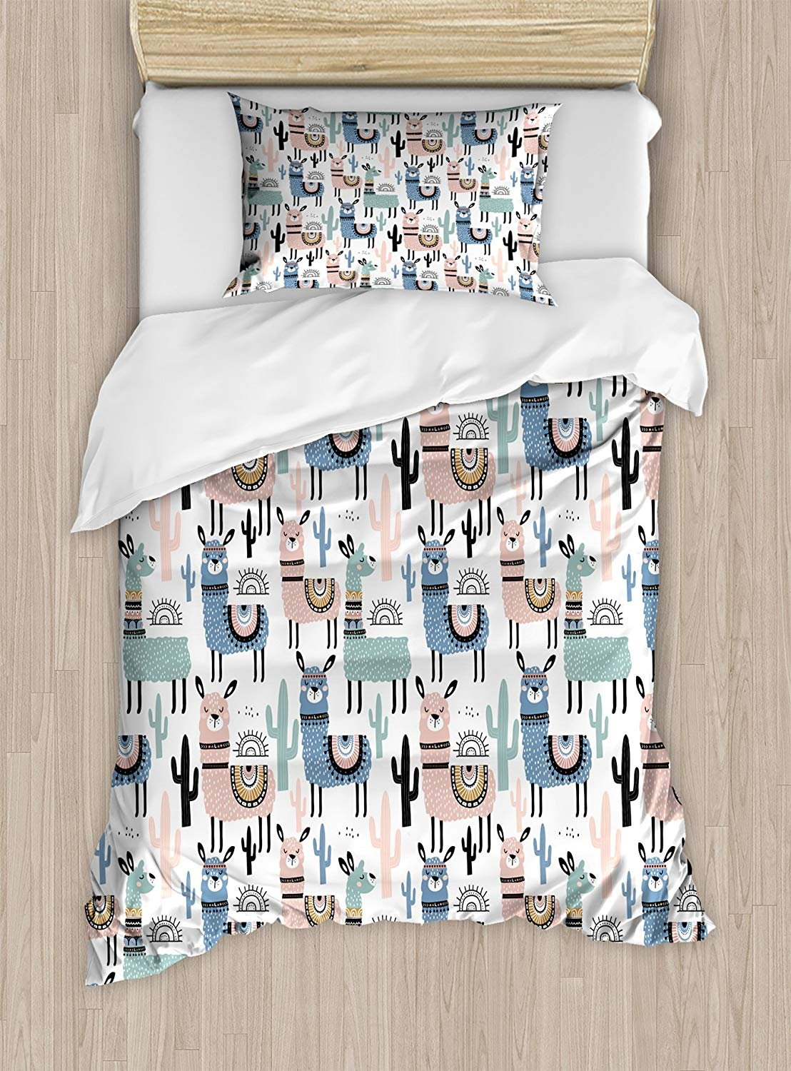 Twin XL Extra Long Bedding Set,Llama Duvet Cover Set,Children Cartoon Style Hand Drawn South American Animals Alpacas and Llamas Design,Cosy House Collection 4 Piece Bedding Setss