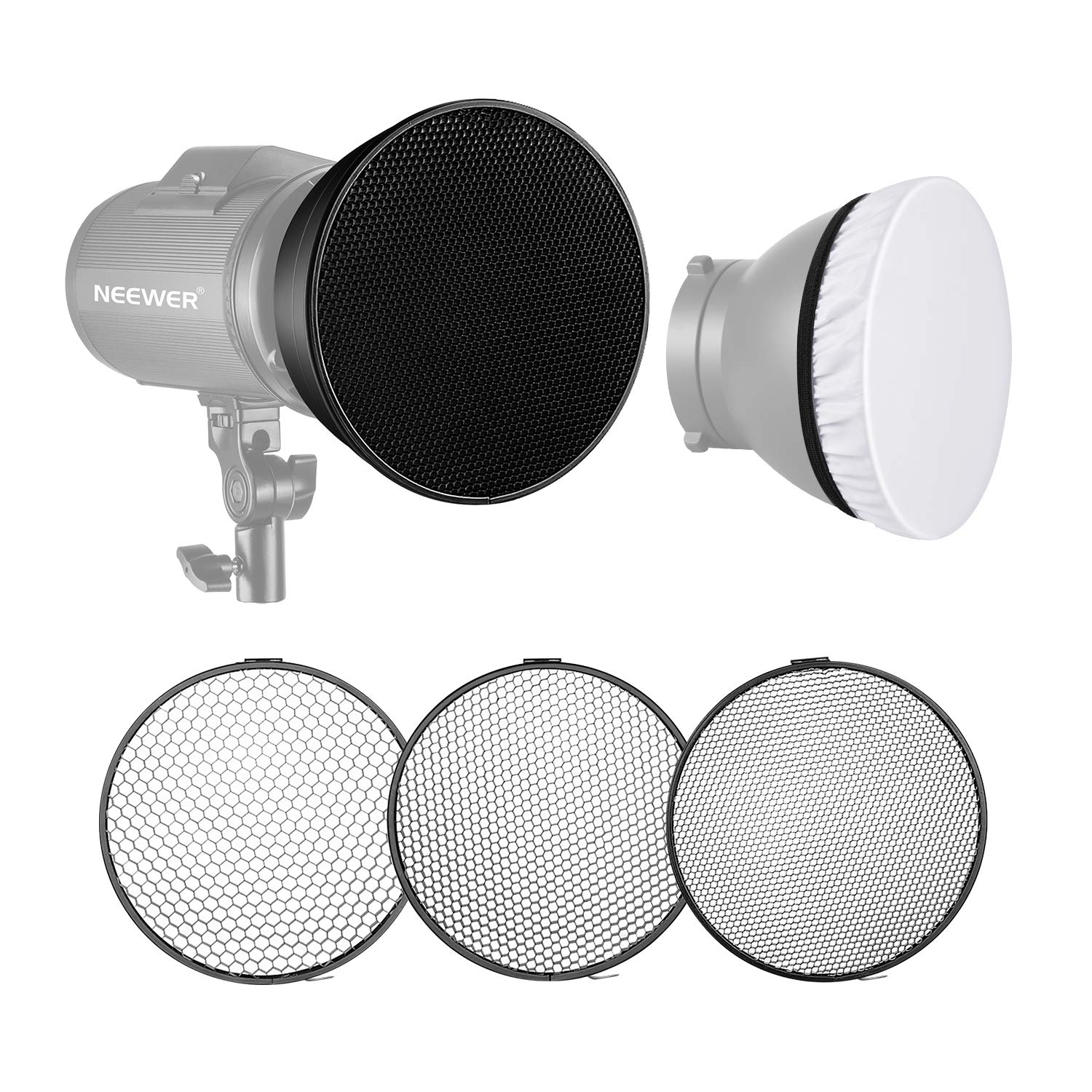 Neewer Standard Reflector 7 inches/18 Centimeters Soft Diffuser with 20/40/60 Degree Honeycomb Grid for Bowens Mount Studio Flash Strobe Light Monolight by Neewer