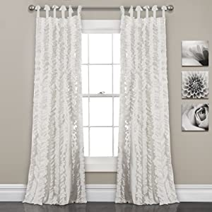 "Lush Decor, White Sophia Ruffle Curtain | Textured Window Panel Set for Living, Dining Room, Bedroom (Pair), 84"" x 40, 84"