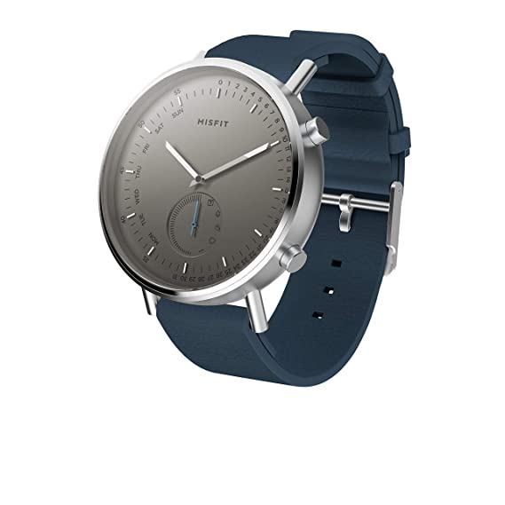 Misfit Command Stainless Steel and Silcone-Backed Leather Hybrid Smartwatch; Silver-Tone Blue; MIS5028