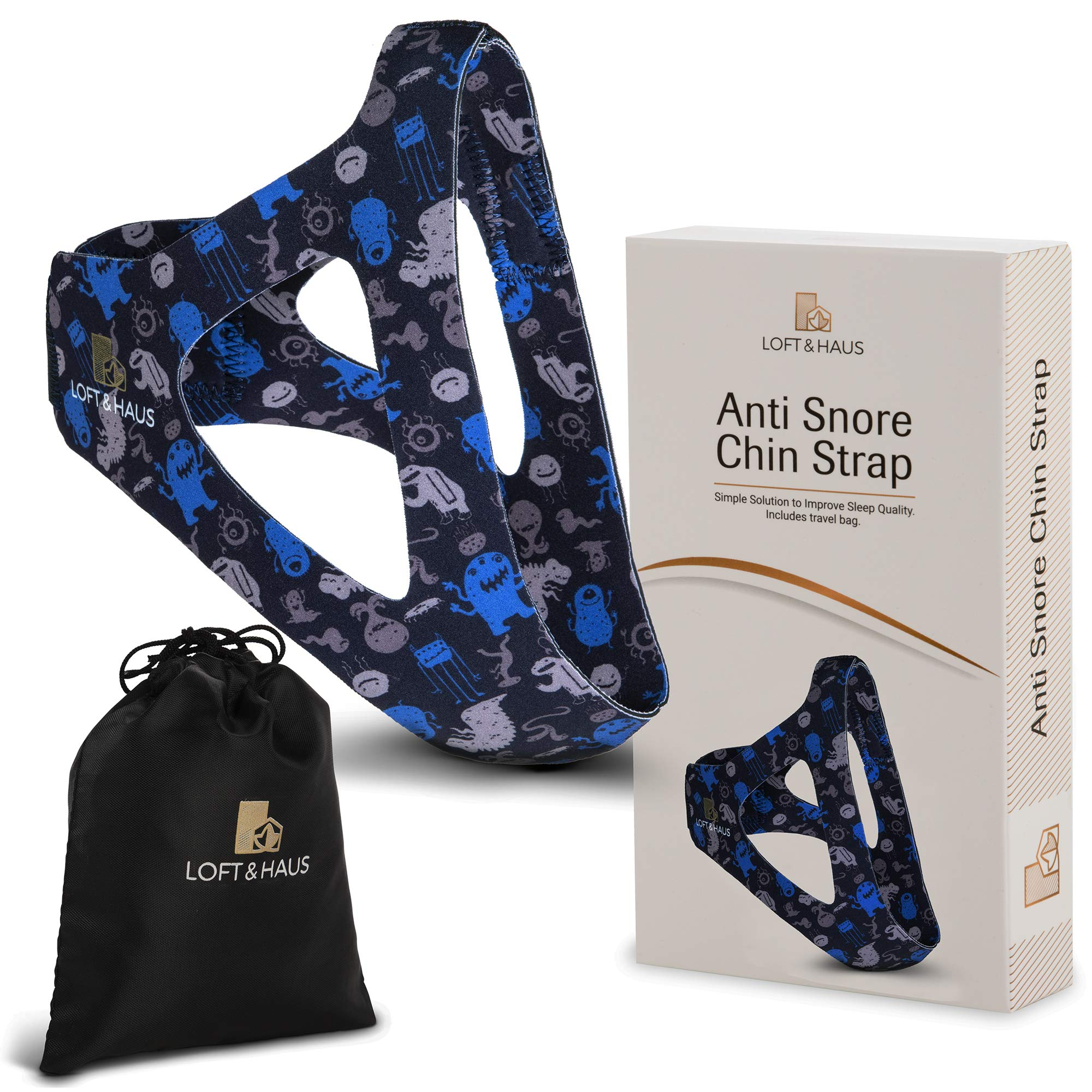 Anti Snoring Chin Strap Device for Men and Women - Snoring Solution Natural Sleep Aid Straps - Snore Stopper CPAP Chin Strap for Snoring, Dry Mouth - Snore Relief Jaw Band CPAP Chin Strap (Blue Alien)