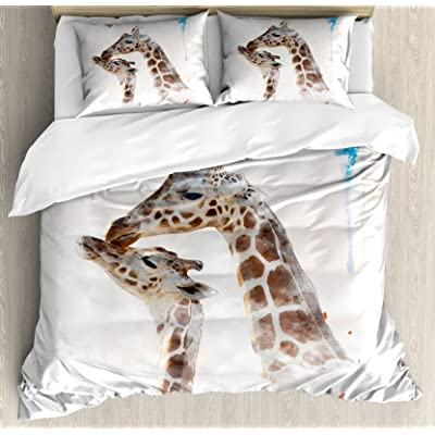 Lunarable Giraffe Duvet Cover Set, Watercolor Parent and Children Animals Mother and Baby Brush Stroke Effect, Decorative 3 Piece Bedding Set with 2 Pillow Shams, Queen Size, Brown Blue White: Home & Kitchen