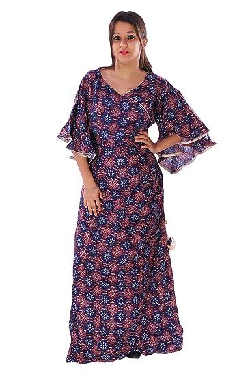 021f539bbdf AZAD DYEING Women Dresses Heavy Rayon Printed Designer Stylish Party Wear  Maxi Dress (Free Size