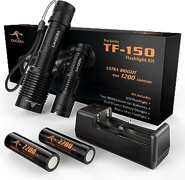 KANGORA TF-150 Kit De Linternas LED - 5 Modos A prueba de agua Linternas Portátiles Con Batería Recargable 18650 Ideal Para Acampar, Escalar, Montar, ...