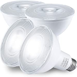 PAR30 LED Light Bulbs, 75W Halogen Equivalent, Recessed Light Bulbs, Flood Lights Indoor, Non Dimmable, 6000K Daylight White 12W 1200Lumen 40 Degree Beam Angle, Replacement for Spotlight, Pack of 4
